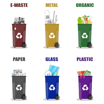 Różne kategorie recyklingu odpadów. kosze na śmieci