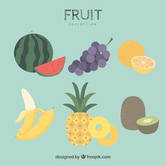 Różne kawałki owoców w płaskim deseniu