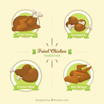 Różne kawałki smażonego kurczaka z ozdobnymi zielonymi wstążkami