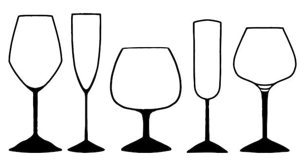 Różne kieliszki do wina, alkoholu. kolekcja ręcznie rysowane ilustracje wektorowe. czarne elementy konturu na białym tle. zarys zestaw do projektowania.