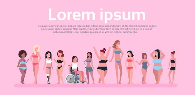 Różne kobiety sobie bikini szablon transparent
