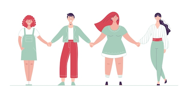 Różne kobiety stoją w rzędzie i trzymają się za ręce