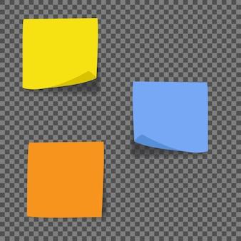 Różne kolorowe arkusze kolekcji notatek.