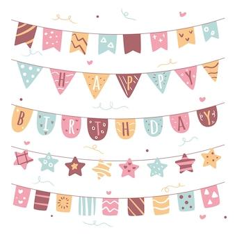 Różne kolorowe dekoracje urodzinowe