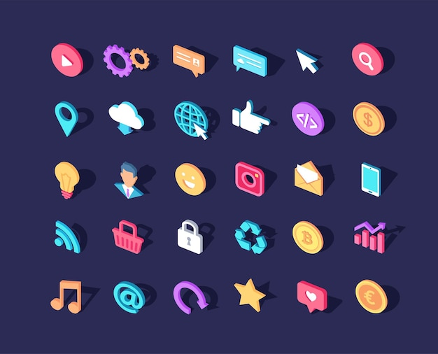 Różne kolorowe ikony izometryczne ustawione na stronie internetowej