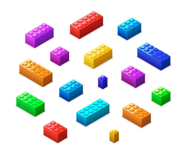 Różne kolorowe klocki lego w widoku izometrycznym na białym tle