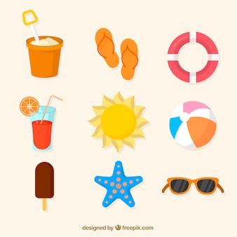 Różne kolorowe letnie przedmioty