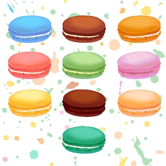 Różne kolorowe makaroniki francuskie. ilustracja.