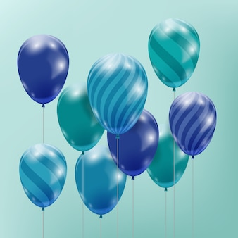 Różne kolorowe realistyczne balony