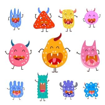 Różne kolorowe słodkie potwory