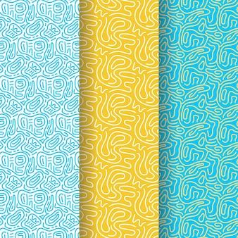 Różne kolorowe wzory zaokrąglonych linii