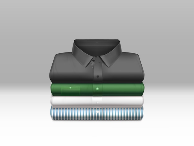 Różne kolory, czyste męskie koszule, wyprasowane i złożone w stos