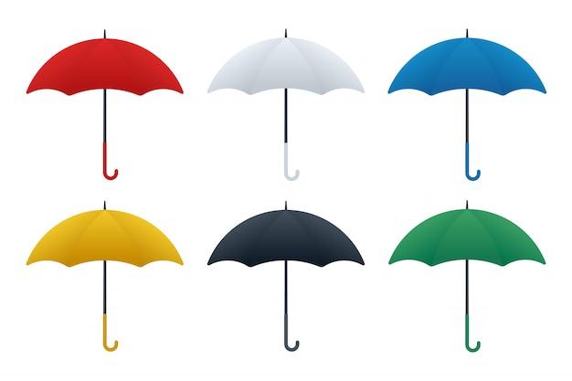 Różne kolory ikon parasolowych
