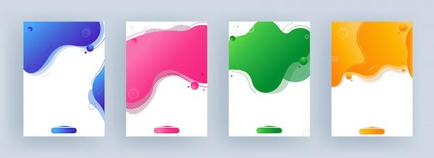 Różne kolory płynnych abstrakcyjnych dzieł sztuki w czterech opcjach. jako szablon lub ulotka.