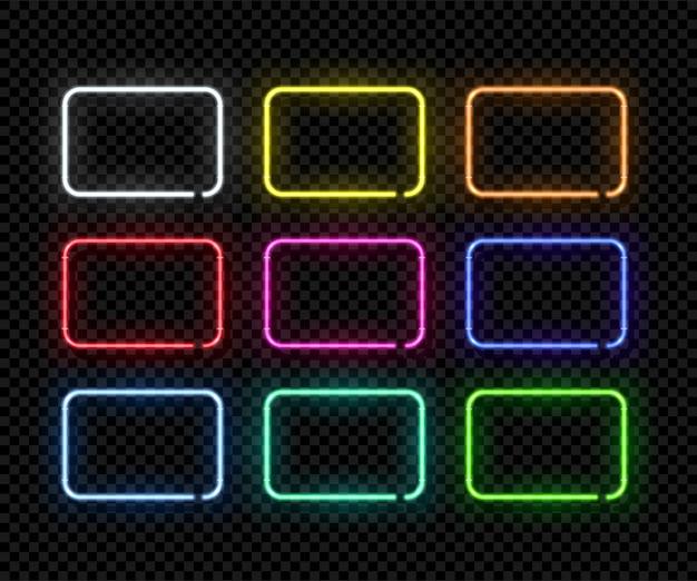 Różne kolory prostokątne ramki neonowe na przezroczystym tle.