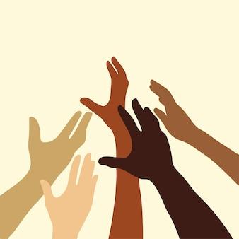 Różne kolory skóry dłoni na beżowym tle ręcznie rysowane płaskie wektor ilustracja