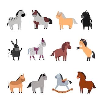 Różne konie rasy wektor zestaw.