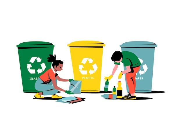 Różne kosze na śmieci i osoby sprzątające