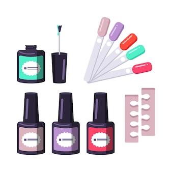 Różne kształty buteleczki z lakierem do paznokci, przekładka i próbnik kolorów. narzędzia do manicure.