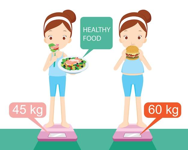 Różne kształty dziewczyny, między jedzeniem zdrowej żywności z bezużyteczną żywnością
