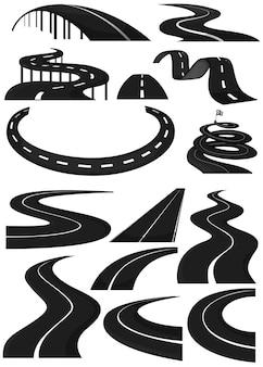Różne kształty pasów ruchu