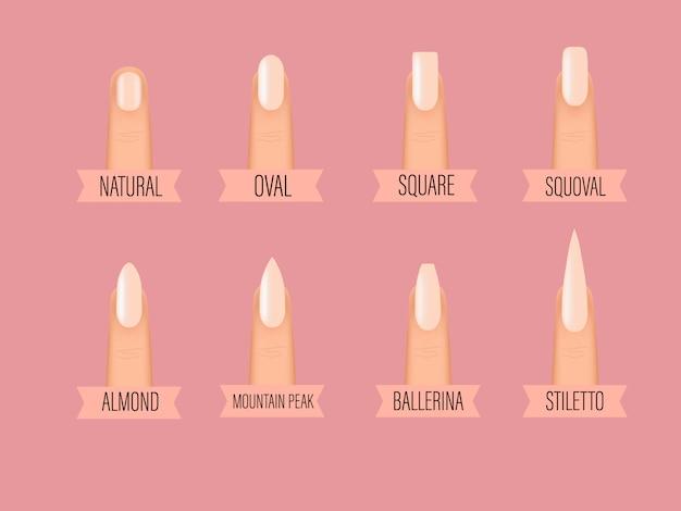 Różne kształty paznokci. rodzaje mody różne kształty paznokci. różne manicure