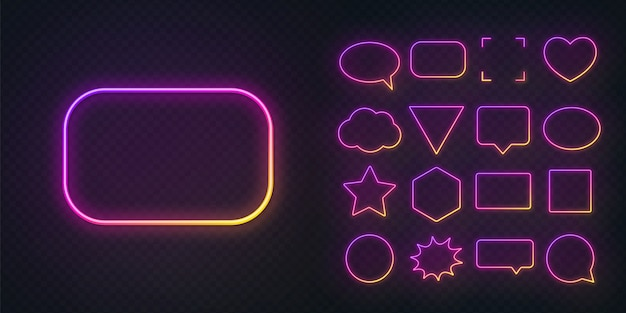 Różne kształty świecących gradientowych fioletowych żółtych neonowych ramek