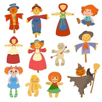 Różne lalki ogrodowe zabawka charakter gry sukienka i gospodarstwo strach na wróble szmaciane lalki ilustracja