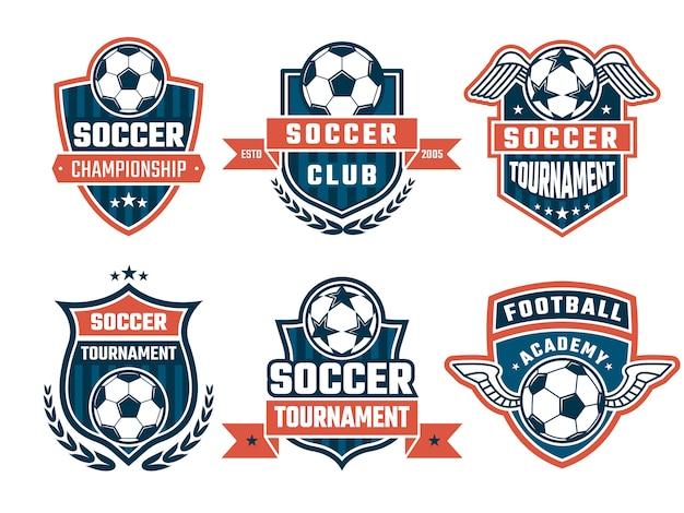 Różne logo klubu piłkarskiego lub zestaw etykiet