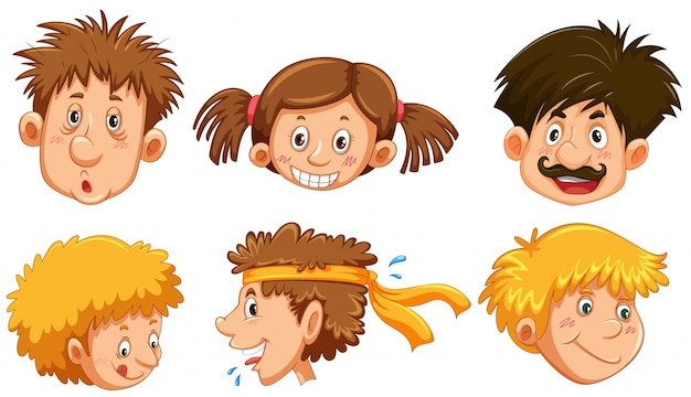 Różne ludzkie twarze z szczęśliwym uśmiechem