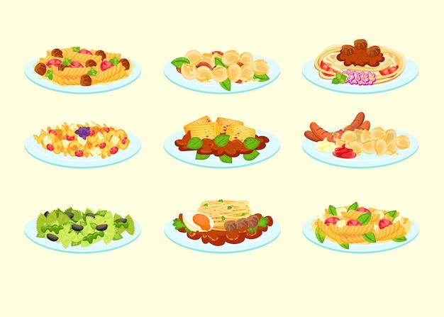 Różne makarony podawane na talerzach zestaw ilustracji