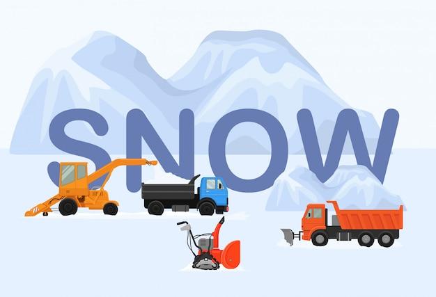 Różne maszyny w zimie usuwa śnieżną ilustrację. duże i małe odśnieżarki gąsienicowe, ciężarówka, wywrotka. biały ogromny śnieg dryfuje.