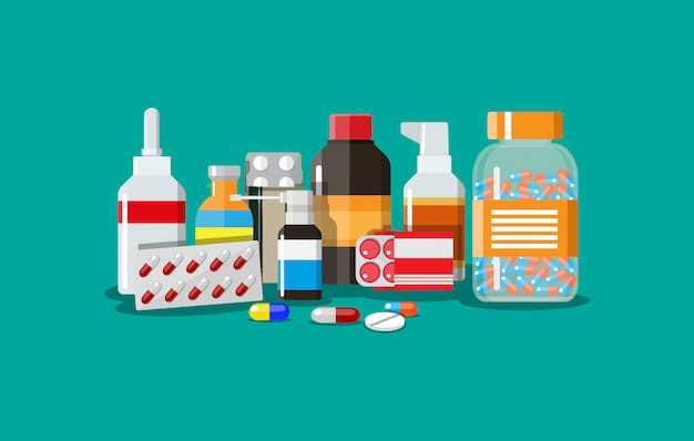Różne medyczne pigułki i butelki