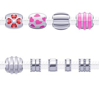 Różne metalowe koraliki do naszyjnika lub bransoletki.