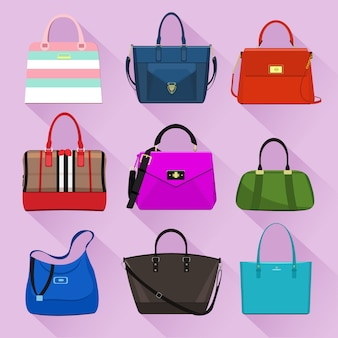 Różne modne torby damskie z kolorowymi nadrukami. ilustracja wektorowa płaski.