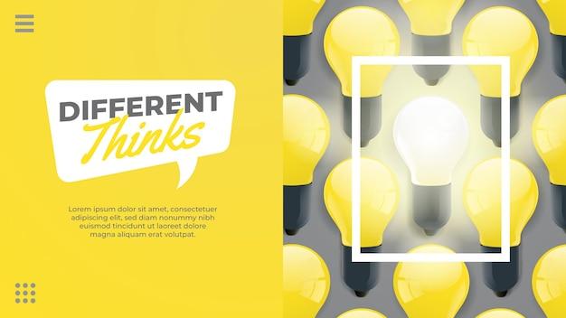 Różne myśli żółta żarówka