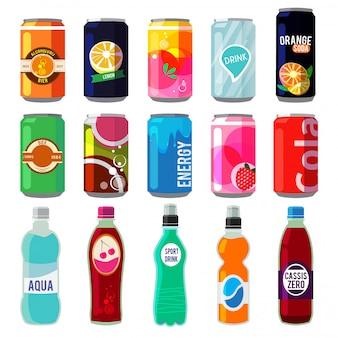 Różne napoje w metalowych puszkach i butelkach.
