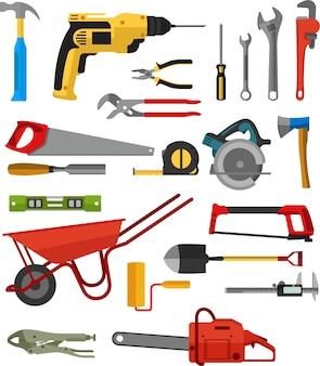 Różne narzędzia do budowania i konserwacji