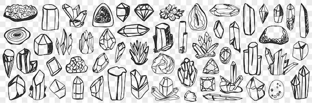 Różne naturalne kryształy doodle zestaw. kolekcja ręcznie rysowanych kryształów o naturalnym połysku o różnych kształtach i fakturach na białym tle.