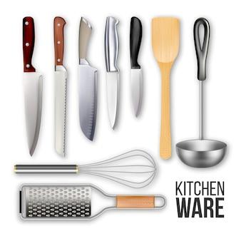 Różne noże i zestaw naczyń kuchennych