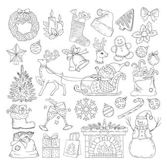 Różne obiekty ferii zimowych. kolekcja ikony świąteczne przyjęcie. vintage ilustracji w stylu wyciągnąć rękę. zimowe przyjęcie świąteczne z mikołajem i choinką