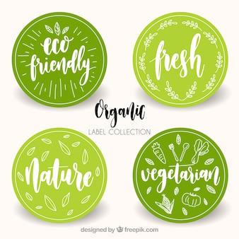 Różne okrągłe etykiety żywności ekologicznej