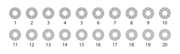 Różne okrągłe graficzne wykresy kołowe szary zestaw. wektor okrągły 20 sekcji. zestaw kół segmentowych na białym tle na białym tle.