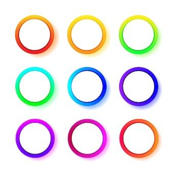 Różne okrągłe ramki gradientu w innym kolorze. zestaw pierścieni gradientu neonowego. ilustracja na białym tle.