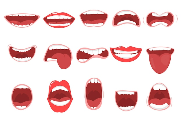 Różne opcje otwartych ust z wargami, językiem i zębami. usta śmieszne kreskówki z różnymi wyrażeniami. uśmiech z zębami, wystającym językiem, zaskoczony. kreskówka
