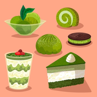 Różne organiczne słodycze z kolekcji matcha