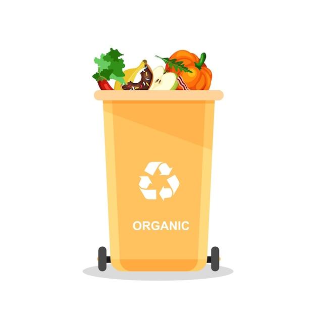 Różne organiczne śmieci w specjalnej urnie. koncepcja recyklingu wektor. kosze do recyklingu z posortowanymi śmieciami i śmieciami.