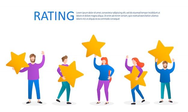 Różne osoby wystawiają opinie i recenzje, postacie trzymają gwiazdki nad głowami, ocena recenzji klientów, pięć gwiazdek, ocena produktu, usługi przez klientów. ilustracja.