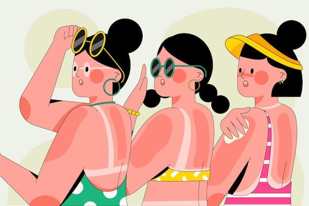 Różne osoby z oparzeniami słonecznymi