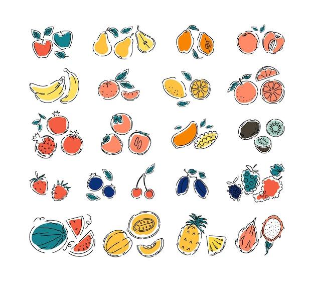 Różne owoce i jagody na białym tle na białym tle duży zestaw naturalnych owoców tropikalnych